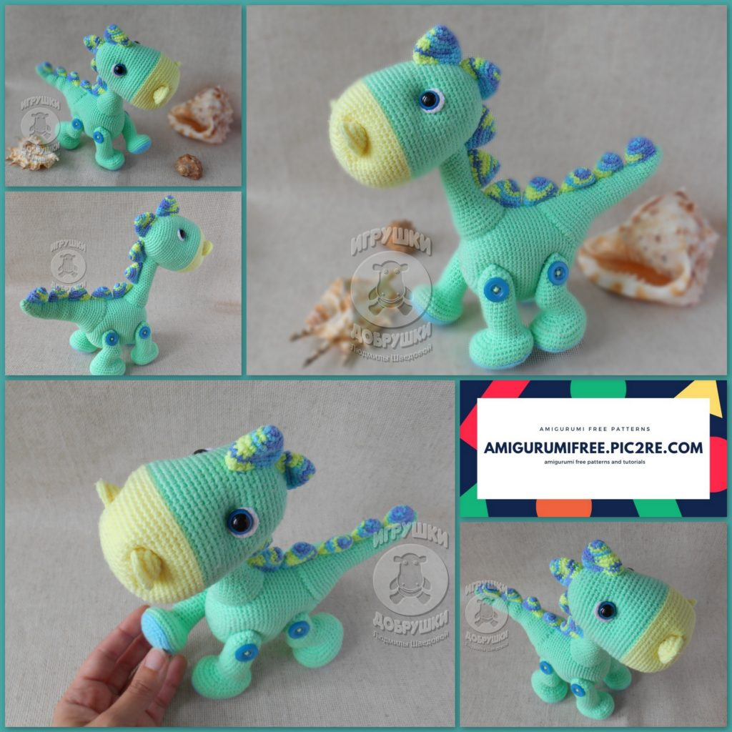 Amigurumi dinosaur crochet pattern - Amigurumi Today | 1024x1024